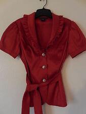 New Sz.4 CACHET SHIMMERY RED SHANTUNG RHINESTONE BELT BELTED HOLIDAY DRESS JACKE