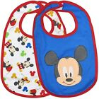 NEW DISNEY BABY MICKEY MOUSE SOFT BIB BLUE SOFT 2 X BIBS - BRAND NEW IN PACKET !