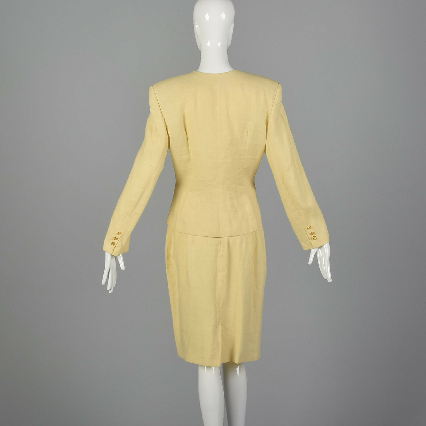 M 1990s Moschino Cheap & Chic Yellow Linen Suit S… - image 2