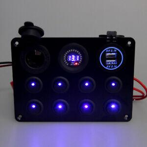 Auto-Boot-RV-LED-8-Gang-Schaltpanel-Schalter-Schalttafel-Voltmeter-USB-12V-24V