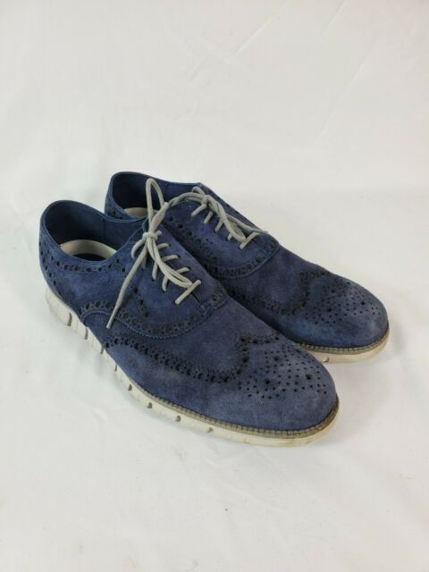 Cole Haan Zerogrand Wingtip Oxford Mens Size 11.5 M Blue Suede Lightweight Shoes