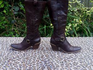 Moretti Cowboy Fabriqu Style Marron En Cuir De Bottes Fausta T7dxqBCB