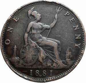 1881-UK-Great-Britain-United-Kingdom-QUEEN-VICTORIA-Genuine-Penny-Coin-i76212
