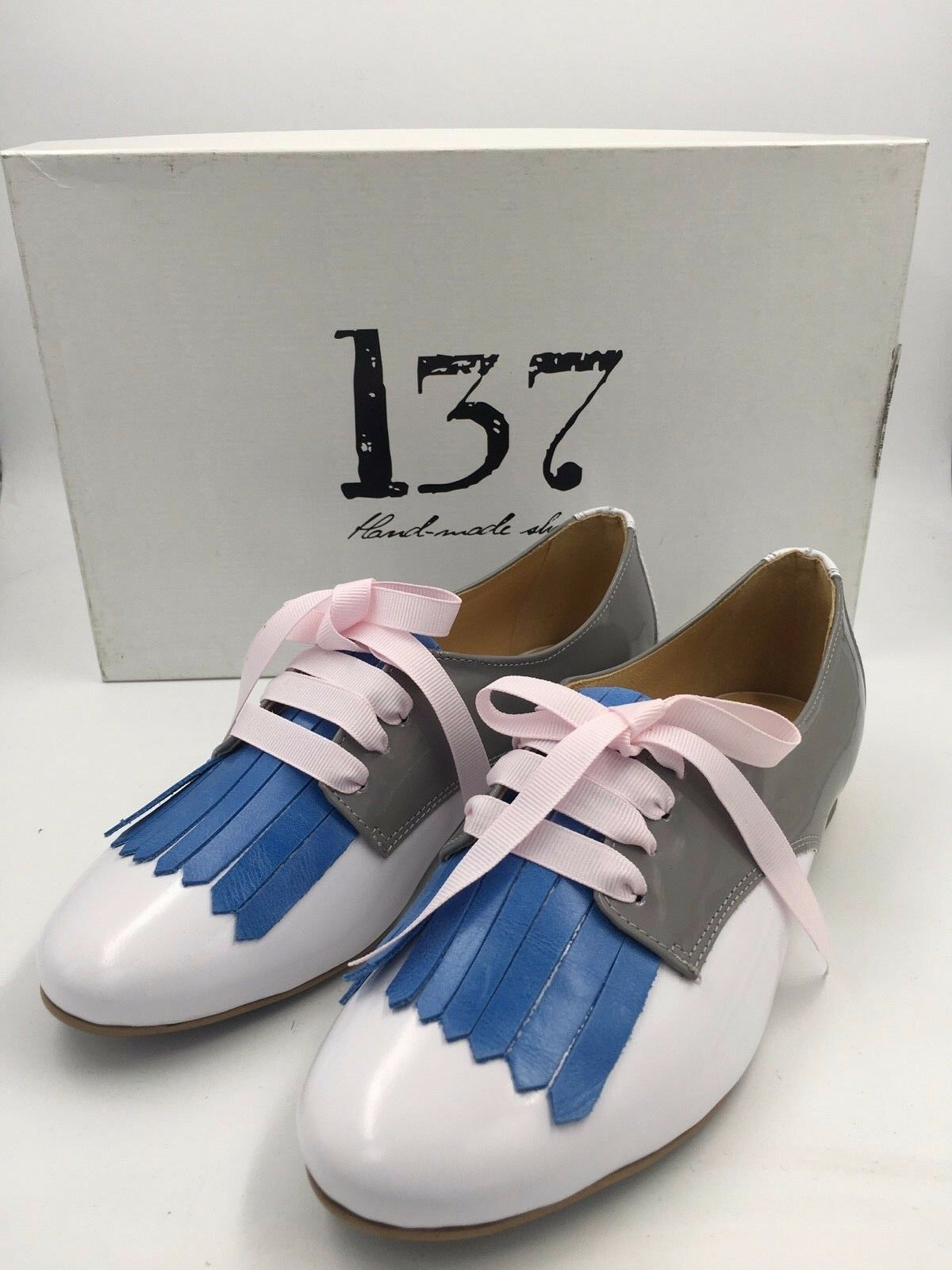 L37 MING PATENT LEATHER WHITE GREY blueE TASSEL LACE UP SHOES UK 2.5 EU 35