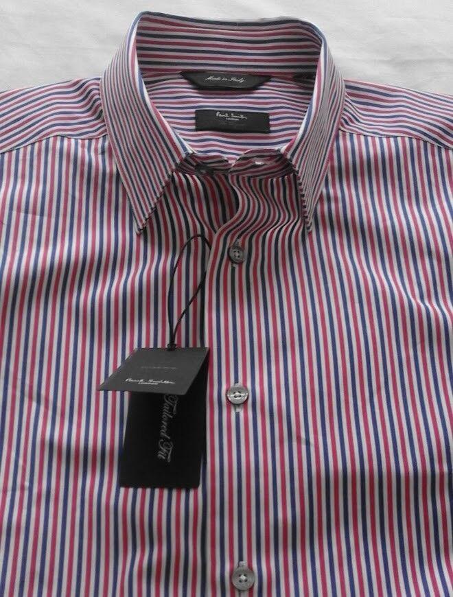 Men's Paul Smith Formal   Casual Shirt - bluee-White-Red Stripe -16'' Collar BNWT