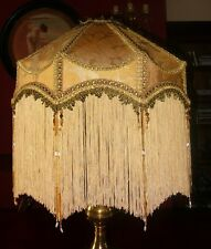 """DUCHESS A VICTORIAN  DOWNTON DECO BEADED LAMPSHADE. SILKY GOLD DAMASK 18"""""""