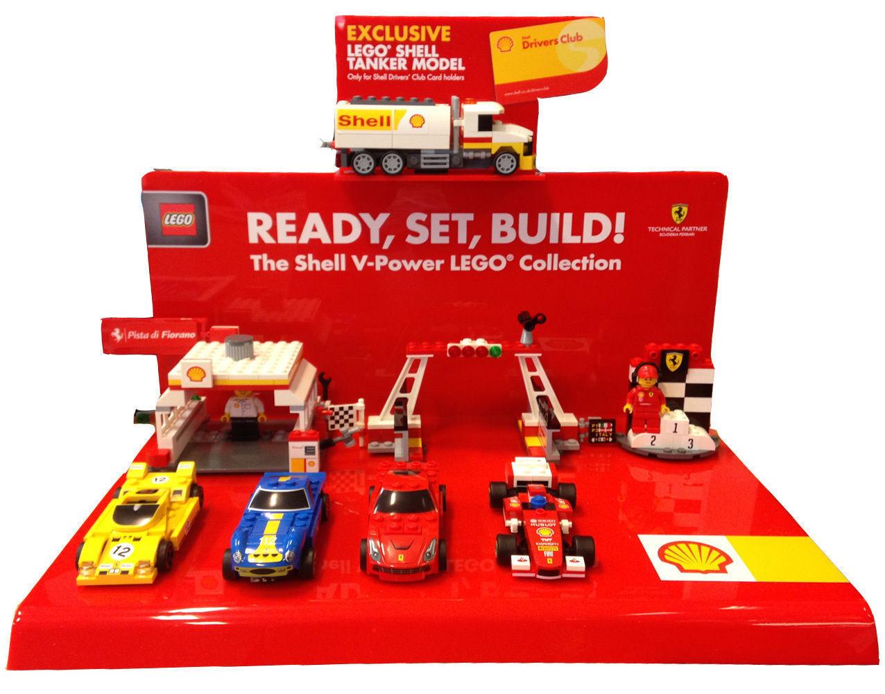 Lego Shell  V-Power Ferrari Stand + Accessories   100% neuf avec qualité d'origine
