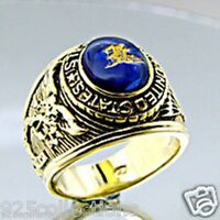 12x10 Mm Us Military Navy Seals Gold Plated Solitaire Stone Men Ring Size 7-15