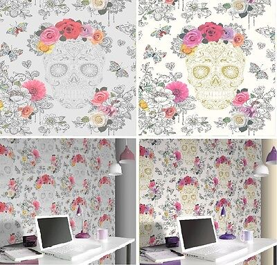 Floral Rose Heart Sugar Skull 278026 New Rasch Wallpaper