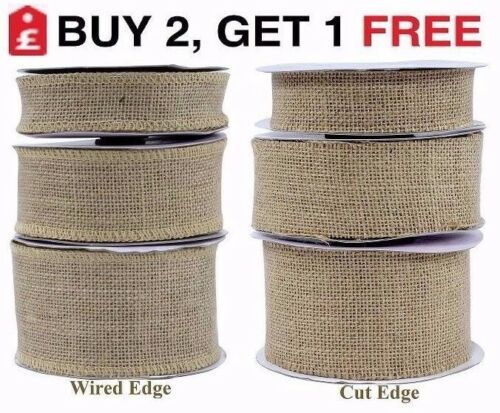 Cut Wired Edge Natural Jute Hessian Burlap Ribbon Lace Rustic 32mm 50mm 70mm