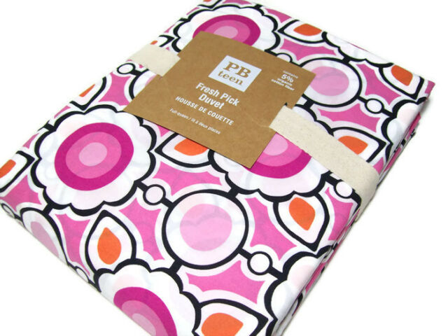 Pottery Barn Teen Cotton Pink Fresh Pick Full Queen Duvet Cover New