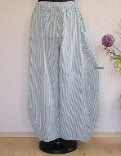 Moonshine Fashion° Lagenlook CRASH Sommer Ballonhose Streifen ~ Grau ~ one size