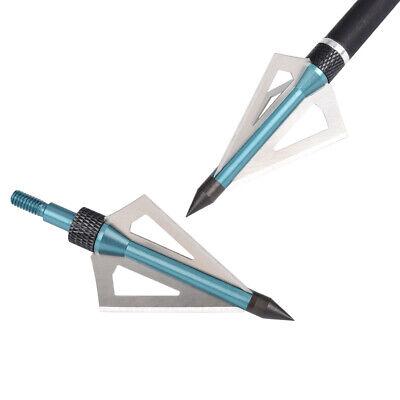 12Pcs Hunting Broadheads 100 Grain 3 Blade Broad Arrow Heads Arrows Screw Tips