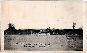 c1910-RIVERDALE-Michigan-Mich-Postcard-OLD-DAM-on-PINE-RIVER
