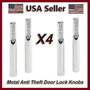 NEW 4 ANTI-THEFT CHROME METAL AUTO DOOR LOCK KNOBS CAR OR TRUCK ...
