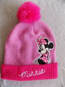 db481363bcfb5 Disney Minnie Mouse Patch Pink Knit Beanie Cap Hat Embroidered   Pom ...