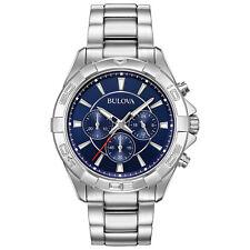 Bulova Men's Quartz Chronograph Blue Dial Silver-Tone Sport 43mm Watch 96A215