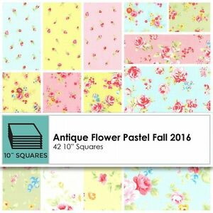 Lecien-Antique-Flower-Collection-in-Pastel-Fabric-Layer-Cake-42-10-034-Squares