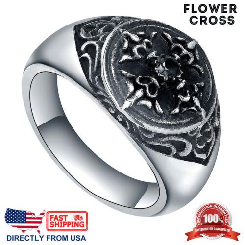 vendedor de EE. UU. Para Hombre de Acero Inoxidable Vintage Cruz Fleur de Lis Anillo de Cristal Negro