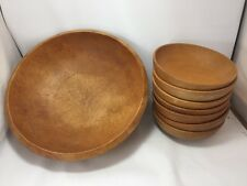 VTG 8 Piece Wood Salad Bowl Set Mid-Century Primitive Woodpecker Woodware Japan