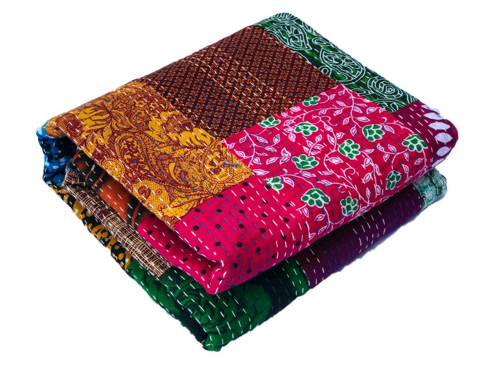 Vintage Indian CottonThrow Kantha Quilt 89  by 63