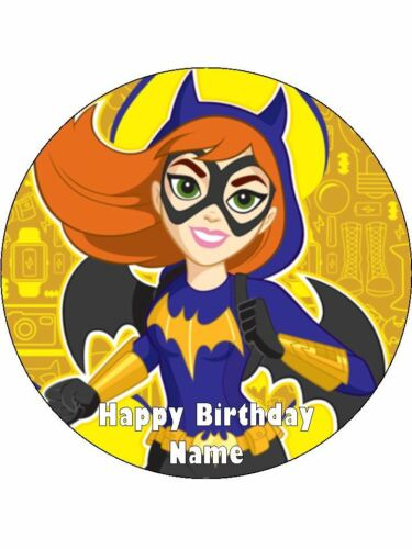 BATGIRL 19cm Edible Wafer Paper Birthday Cake Decoration /& 12 Cupcake Toppers