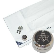 Rhodium Plated Masonic (With G) Design Cuff Button Covers (X2AJBC010)