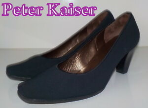 """Fabuleux """"peter Kaiser"""" Toile Noire Cuir Cour Chaussures Uk 4.5 Eu 37.5 £ 135-afficher Le Titre D'origine"""