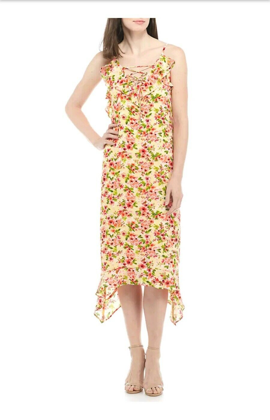 Emma & Michele Women's Size Large Yellow Sun Dress--Floral Ruffled Lined NWT
