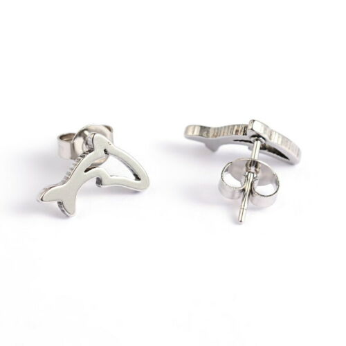 Stud Earrings GIFT BOXED Dolphin Hypoallergenic 316L Surgical Steel