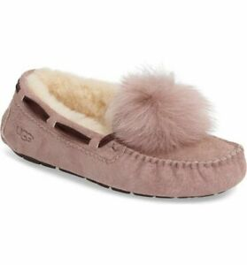 fd2a4191135 Details about UGG WOMEN'S DAKOTA POM POM SUEDE MOCCASINS/SLIPPERS IN  SEASHELL PINK SIZE 10
