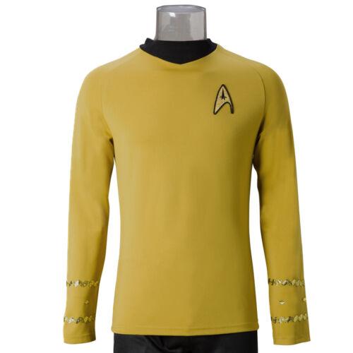 Star Trek TOS Captain Kirk Shirt Uniform Cosplay Costume Yellow Men/'s Shirt New