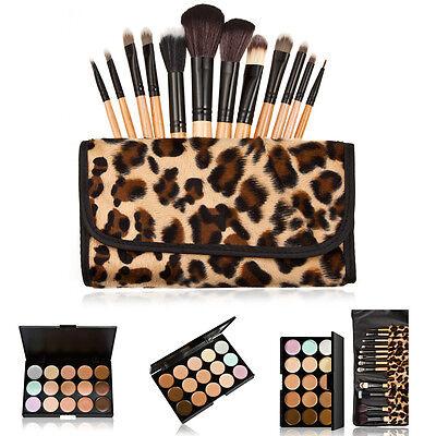 15 Colors Contour Face Cream Makeup Concealer Palette + 12PCS Powder Brush Pro