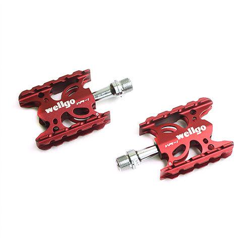 "Wellgo WR-1 MTB Mountain / Road Bike 9/16"" Aluminum Pedals Platform - Red"
