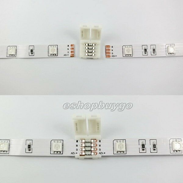 Mini 4PIN RGB Connector Adapter For 5050 RGB LED Strip Solderless 10mm Lot US