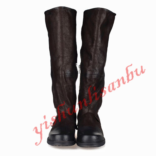 Women SHEEP Leather Knight Knee High Boot Motor Combat Buckle Zip Roma Shoes New