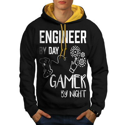 Herzhaft Wellcoda Engineer Gamer Life Mens Contrast Hoodie, Funny Casual Jumper