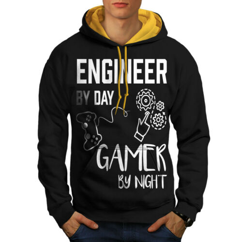 Wellcoda Engineer Gamer Life Mens Contrast Hoodie Funny Casual Jumper