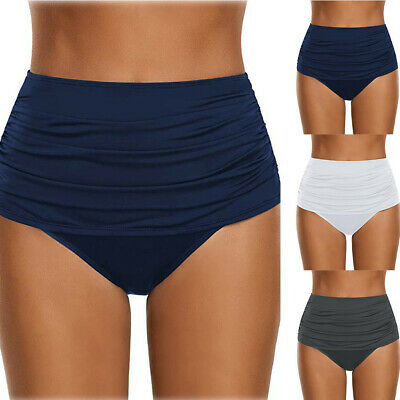 Ladies Women/'s High Waisted Swim Bottom Ruched Bikini Tankini Swimsuit Briefs US