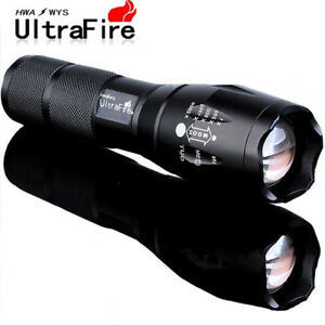 tactical 50000lm 5modes t6 led flashlight zoomable 18650 military