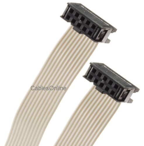 Female to Female 2.54mm-Pitch 10-wire IDC Flat Ribbon Cable 10-Pin 2x5