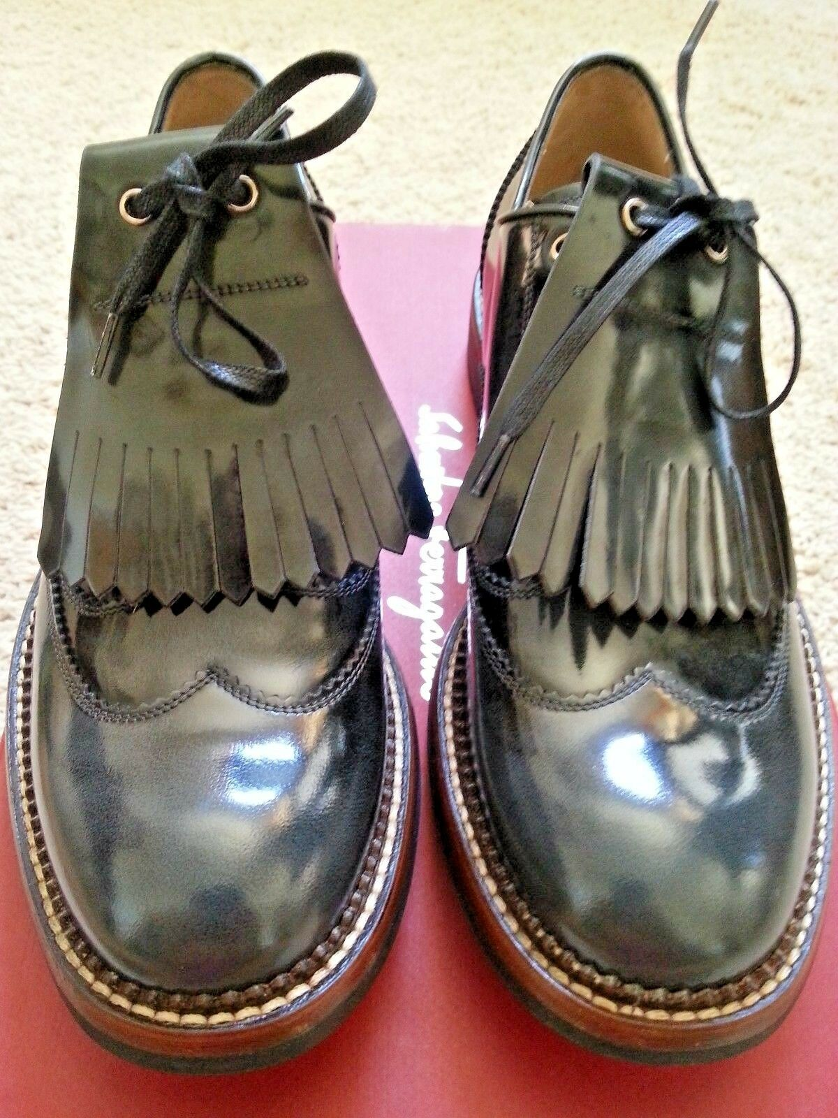 NEW  895 Salvatore Ferragamo Rueda Leather Lace-Up Smoked Black Oxfords 7 M