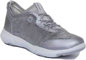 Details zu Geox Nebula Womens Shiny Lace Up Light Weight Trainers In Silver Size UK 3 8