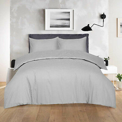 T-300 Hotel Quality Satin Stripe 100/% Egyptian Cotton Luxury Duvet Cover Bed Set