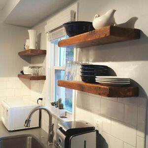 Details about Floating Shelf, Reclaimed Barn Wood Floating Shelves, Corner  Shelf Kitchen Shelf