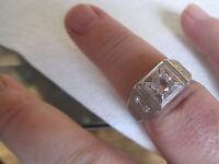 Vintage Men's Gold-plated Ring W/ Quartz Stone, Size 12.75, Lots Of Sparkle