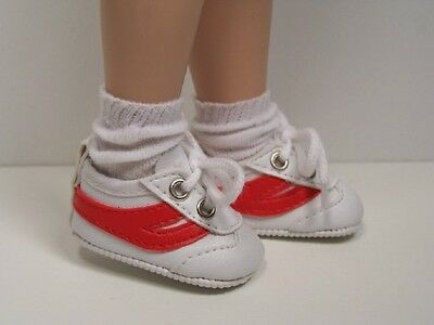 """WHITE w//RED Trim Gym Tennis Doll Shoes For Tonner 14/"""" Betsy McCall DEBs"""