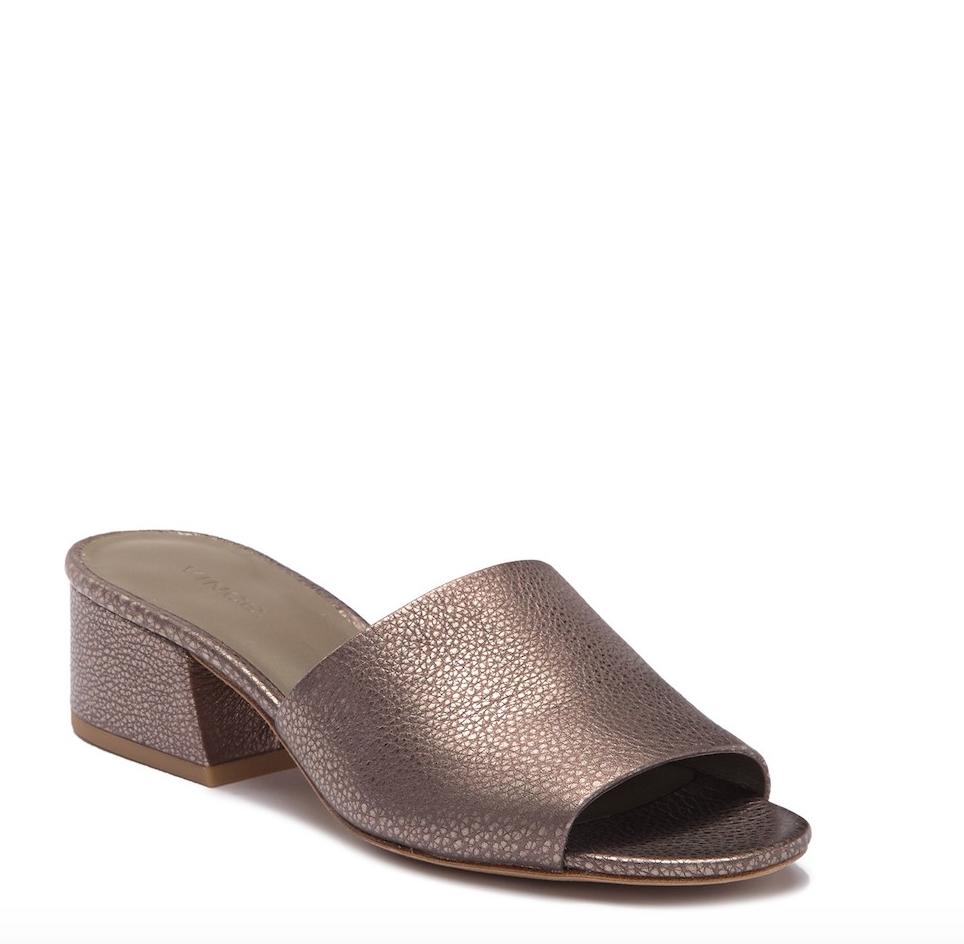 marchi di stilisti economici Vince Donna  Metallic Bronze Leather Leather Leather Karissa Heeled Open Toe Slides, Dimensione 9  il più economico