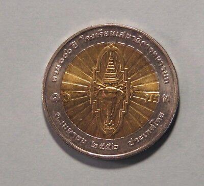 Hearty 10 Baht Thailand 2012 Unc Coin 2554 Bi Metallic Royal Thai Army Y510 Rama Ix Coins: World