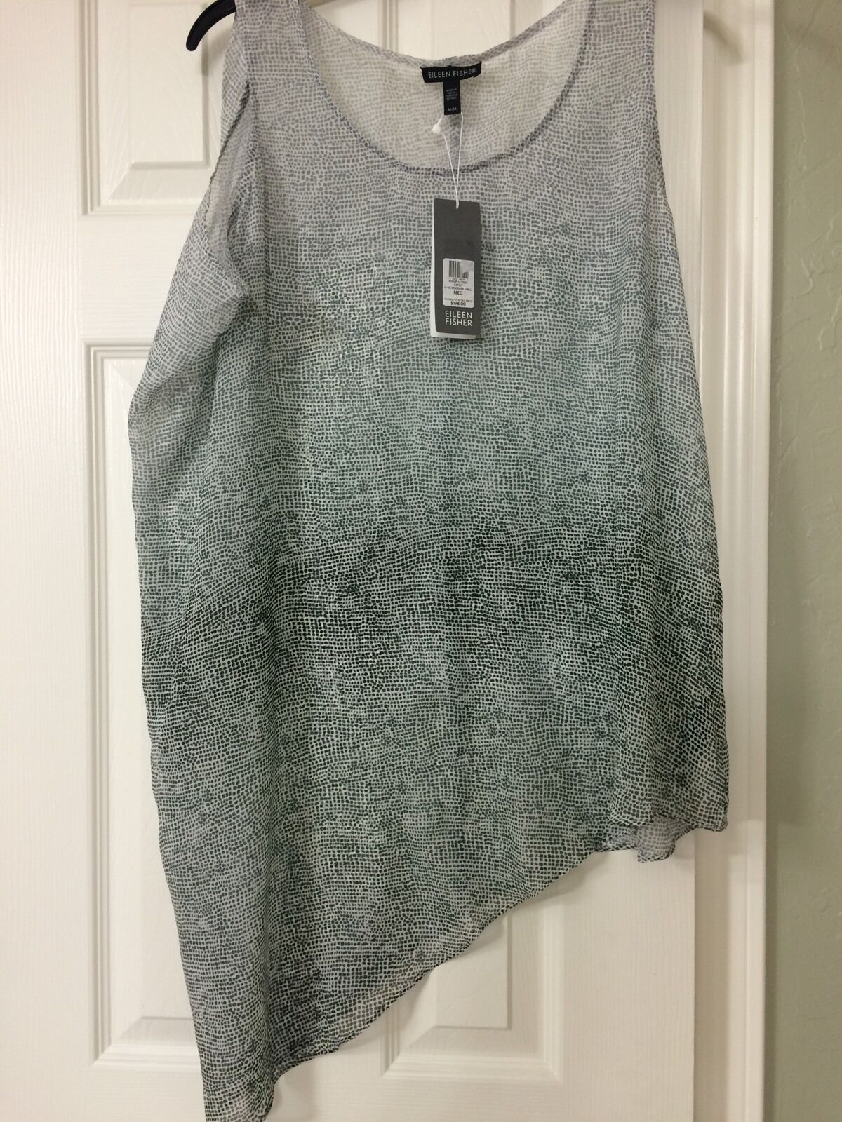 SMALL NWT Eileen Fisher Graphite Ombrot Thumbprint Silk Side Drape She'll